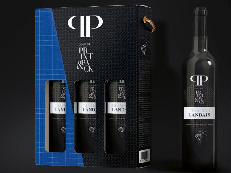 maquette prototype caisse personnalisee carton simple canelure 3 bouteilles